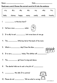 Y as a vowel Activity Pack *No Prep*