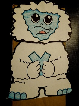 Y is for Yeti paper bag puppet