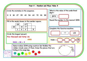 Y4 number and place value morning mats