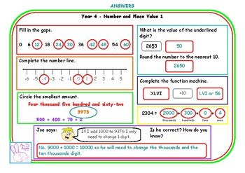 Y4 number and place value morning mats (double sided)
