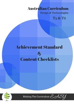 Y5 & Y6 Design & Technologies Australian Curriculum Checklists
