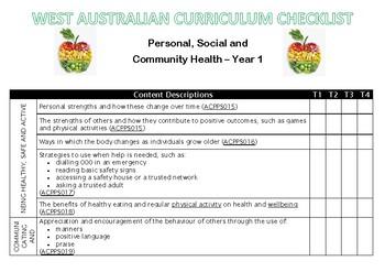 YEAR 1 Health Western Australian Curriculum Checklist