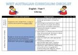 YEAR 1 Literacy Western Australian Curriculum Checklist