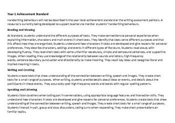 YEAR 1 Literature Western Australian Curriculum Checklist