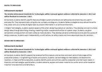 YEAR 1 Technologies Western Australian Curriculum Checklist