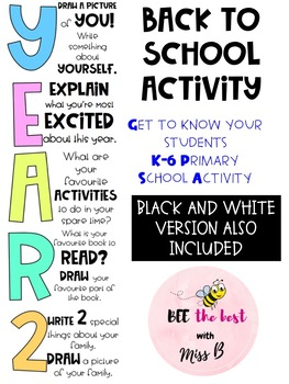 YEAR 2 BACK TO SCHOOL ACTIVITY