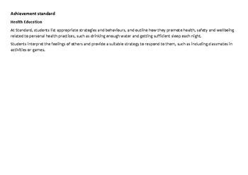 YEAR 2 Health Western Australian Curriculum Checklist