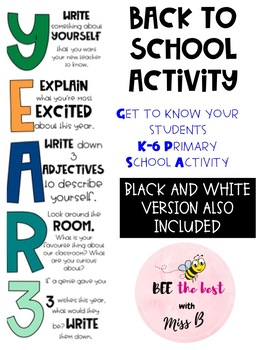 YEAR 3 BACK TO SCHOOL ACTIVITY