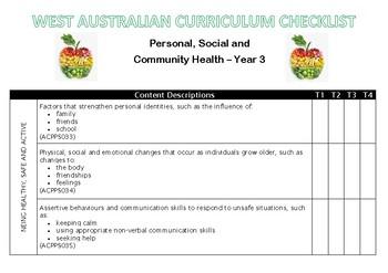 YEAR 3 Health Western Australian Curriculum Checklist