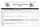 YEAR 3 Technologies Western Australian Curriculum Checklist