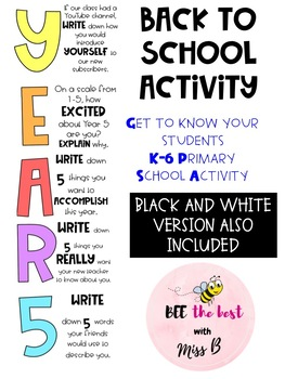 YEAR 5 BACK TO SCHOOL ACTIVITY
