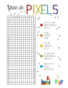 YEAR IN PIXELS 2019, 4 PAGES, MOOD TRACKER, MINDFULNESS ACTIVITIES, NEW YEARS
