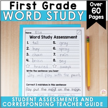 1st Grade Spelling Assessments EDITABLE {Year-long}