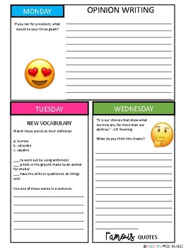 YEAR LONG BUNDLE: Daily Writing/ Morning Work Journal for 3rd-5th