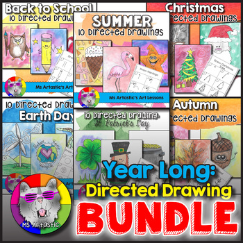 This YEAR LONG Directed Drawing Bundle is a great way to get your students drawing and creating artastic art pieces year round! Each Directed Drawing product comes with a coloring title page, 10 step-by-step drawing pages, and a blank boarder page for students to draw on.