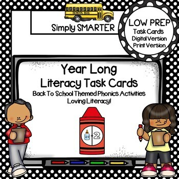 YEAR LONG Kindergarten Digital And Print Literacy Task Cards BUNDLE