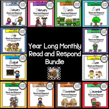 YEAR LONG Monthly Read and Respond Bundle: Emergent Books & Comprehension Pages