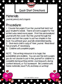 YEAR LONG Writing Journals Bundle:  NO PREP Journal Prompts