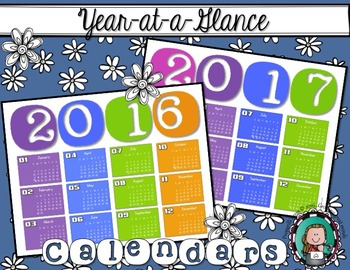 YEAR-at-a-Glance CALENDARS {2016 & 2017}