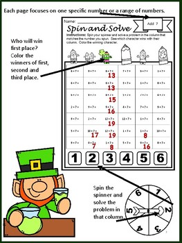 YEARLY BUNDLE Math Center Addition Facts Spin and Solve | GROWING BUNDLE