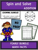 YEARLY BUNDLE Math Center Addition Facts Spin and Solve |
