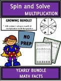 YEARLY BUNDLE Math Center MULTIPLICATION Facts Spin and So