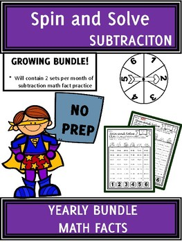 YEARLY BUNDLE Math Center SUBTRACTION Facts Spin and Solve | GROWING BUNDLE