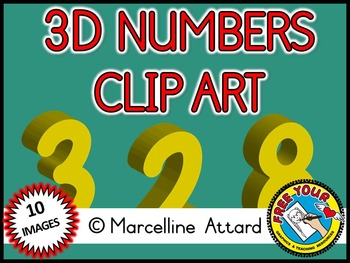 3D NUMBERS CLIPART: YELLOW SOLID SHAPES CLIPART NUMBERS: MATH CLIPART