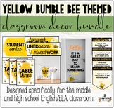 YELLOW BUMBLE BEE THEMED MIDDLE OR HIGH SCHOOL CLASSROOM DECOR BUNDLE