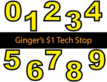 YELLOW! * Bulletin Board Letters * Numbers * 0123456789