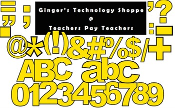 YELLOW! * Bulletin Board Letters * Punctuation * Numbers * Symbols * Alphabet