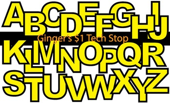 YELLOW! * Bulletin Board Letters * Upper Case * Alphabet