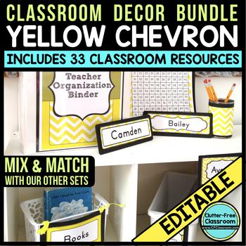 YELLOW Classroom Decor CHEVRON, EDITABLE