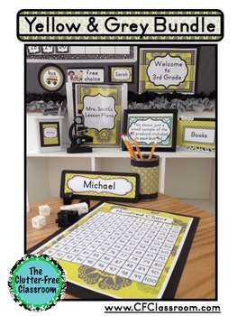 YELLOW AND GREY Classroom Decor EDITABLE