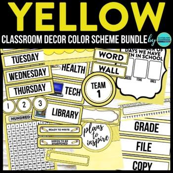 YELLOW MODERN PATTERN Classroom Decor-EDITABLE Clutter-Free Classroom Decor