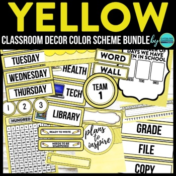 YELLOW MODERN PATTERN Classroom Decor-EDITABLE Clutter-Fre