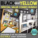 YELLOW and BLACK Polka Dots Classroom Decor Bundle EDITABLE