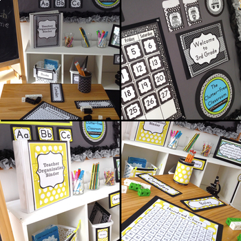 YELLOW and BLACK Polka Dots Classroom Decor Bundle EDITABLE