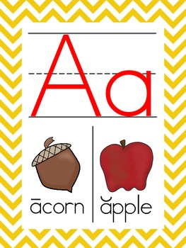 YELLOW chevron ABC wall cards