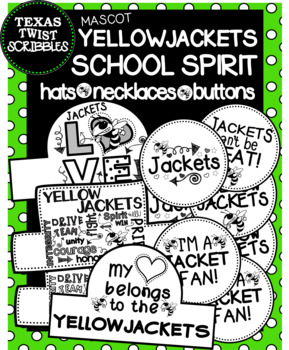 YELLOWJACKET SCHOOL SPIRIT HATS NECKLACES BUTTONS {Texas Twist Scribbles}