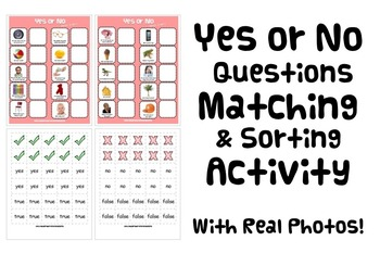 YES OR NO QUESTIONS MATCH & SORT ACTIVITY autism speech therapy aba pdf
