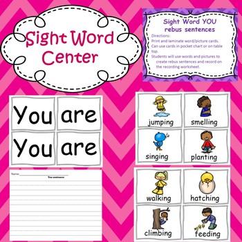 YOU: emergent reader, center, word work worksheets