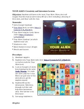 YOUR ALIEN: Creativity and Literature Drawing lesson based on the book