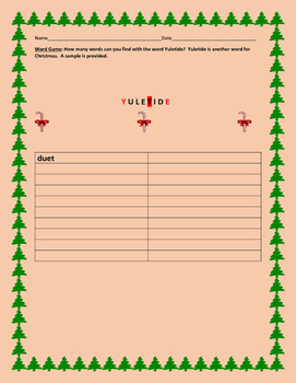 YULETIDE WORD GAME