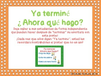 Ya termine. Ahora que hago? Spanish poster for Writer's Workshop