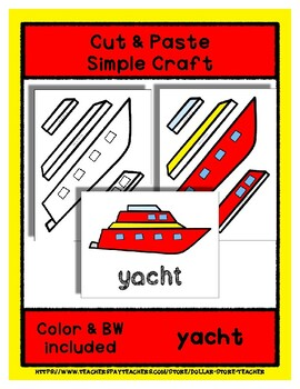 Yacht  - Cut & Paste Craft - Super Easy perfect for Pre-K & Kindergarten