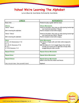 Yahoo! We're Learning The Alphabet Song(Mp3), Lesson Materials and Printables