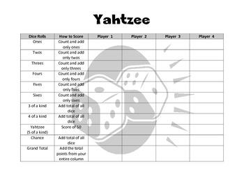 Yahtzee Scorecard