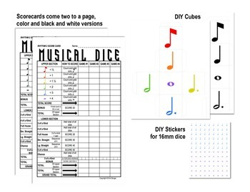 Yahtzee -inspired Musical Dice Bundle (Dynamics, Rhythm Easy, Rhythm Medium)