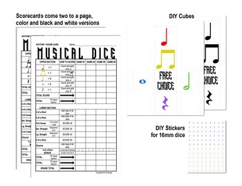 Yahtzee -inspired Musical Dice Game (Rhythm Easy)